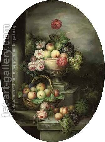 Grapes, peaches and roses in an urn with apples, plums and peaches in a basket below, on a stone ledge by (after) Huysum, Jan van - Reproduction Oil Painting