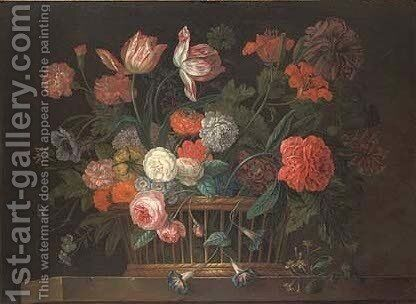 Roses, chrysanthemums, morning glory, lilies, carnations and other flowers in a basket on a stone ledge by Jacob van Huysum - Reproduction Oil Painting