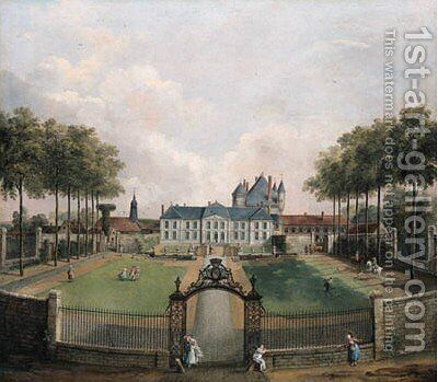 View of the Chateau de Mousseaux and it's garden 3 by Jean-Francois Hue - Reproduction Oil Painting