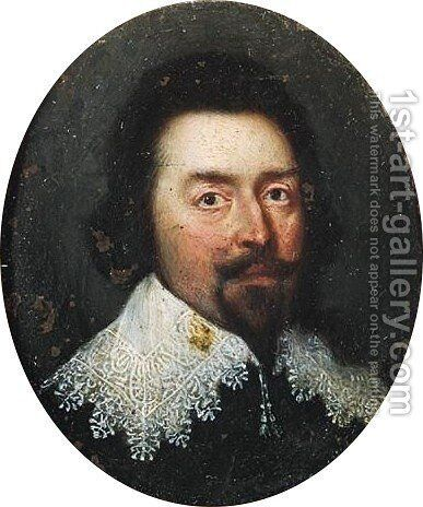 Portrait Of A Gentleman, Half Length, Wearing Black With A Lace Ruff by (after) Honthorst, Gerrit van - Reproduction Oil Painting