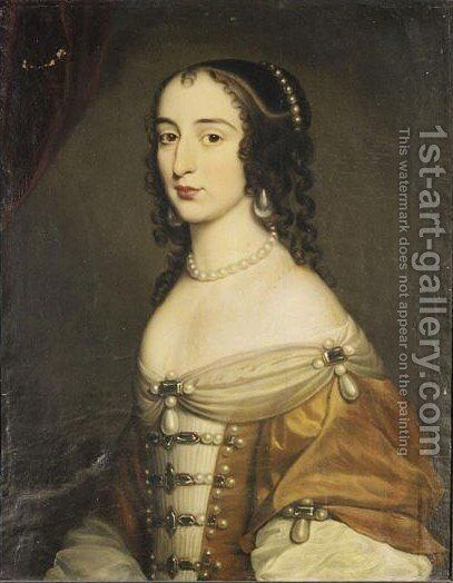 Portrait Of A Young Lady, Said To Be Grafin Konigsmark by (after) Honthorst, Gerrit van - Reproduction Oil Painting