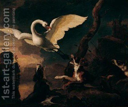 River Landscape With Dogs Attacking A Swan by Abraham Danielsz Hondius - Reproduction Oil Painting