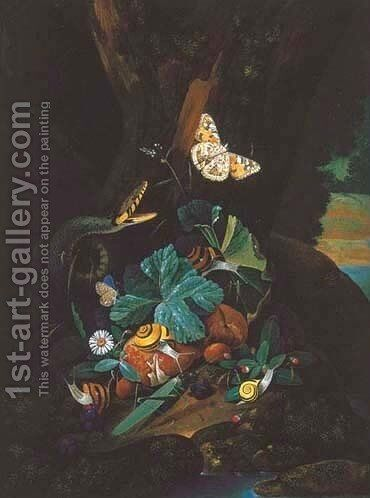 A forest floor still life with a snake, butterflies, snails and a grasshopper by Carl Wilhelm de Hamilton - Reproduction Oil Painting