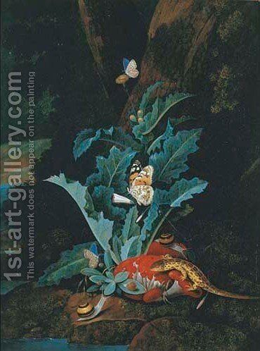 A forest floor still life with a lizard, butterflies and snails by Carl Wilhelm de Hamilton - Reproduction Oil Painting
