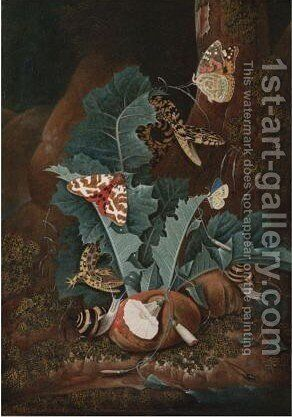 A Forest Floor With A Lizard, A Painted Lady Butterfly by Carl Wilhelm de Hamilton - Reproduction Oil Painting