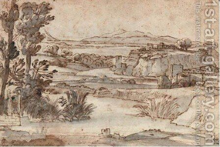 An extensive river landscape, with a fort in the background by Giovanni Francesco Grimaldi - Reproduction Oil Painting