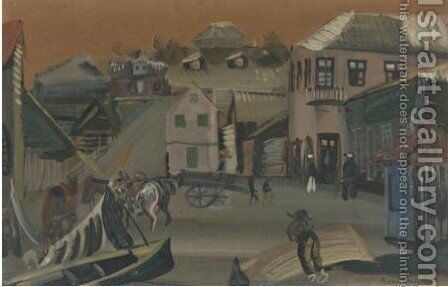 Village Scene by Boris Dmitrievich Grigoriev - Reproduction Oil Painting