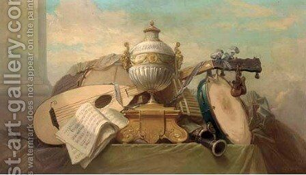 A violin, bagpipes, a drum and other instruments by Godefroy - Reproduction Oil Painting