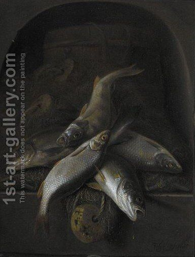 Still Life Of Freshwater Fish Piled High In A Carved Stone Niche by Jacob Gillig - Reproduction Oil Painting