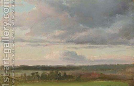 Landscape with Clouds near Moritzburg by Christian Friedrich Gille - Reproduction Oil Painting