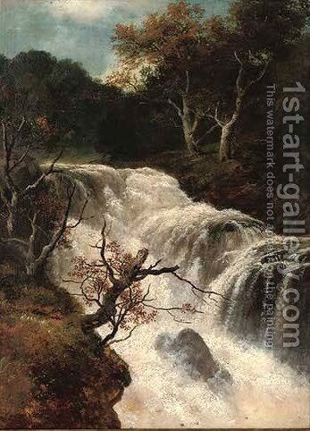 Waterfall, autumn by Edmund Gill - Reproduction Oil Painting