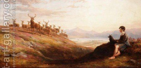 A Young Gillie Keeping Watch Over The Herd by James William Giles - Reproduction Oil Painting