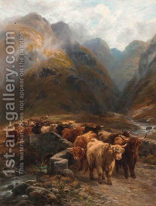 Highland Cattle in an extensive landscape by Henry Garland - Reproduction Oil Painting