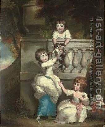 Group portrait of three children playing at a balcony in a garden, with a spaniel by Daniel Gardner - Reproduction Oil Painting