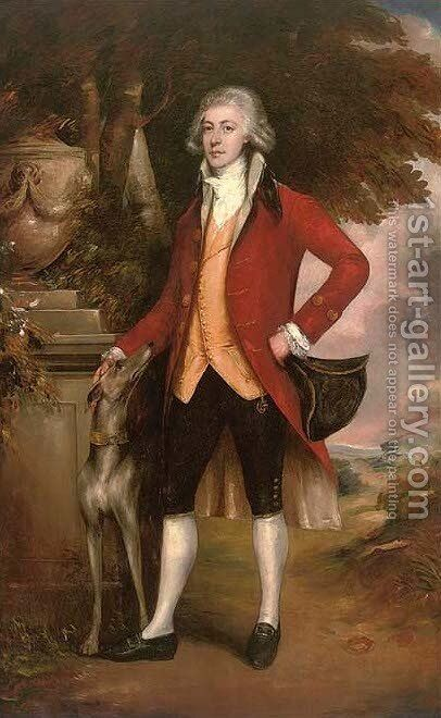 Portrait of a gentleman, full-length, in a red coat, holding a tricorn hat in his left hand, a dog beside him by (after) Gainsborough, Thomas - Reproduction Oil Painting