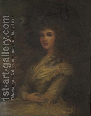 Portrait of a lady, seated three-quarter-length, in yellow dress and hat by (after) Gainsborough, Thomas - Reproduction Oil Painting