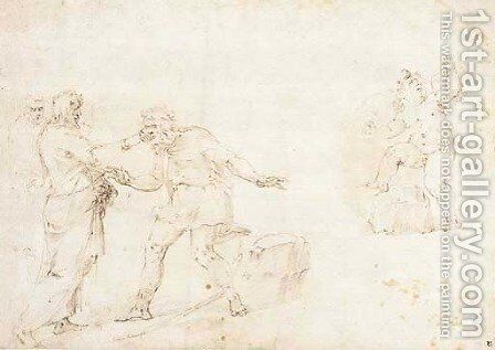 Study with Christ healing the Blind Man and a putto playing with a kite by Battista Franco - Reproduction Oil Painting