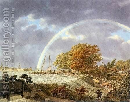 Autumn Landscape with Rainbow 1779 by Jacob Cats - Reproduction Oil Painting