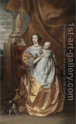 Portrait Of Queen Henrietta Maria With Mary, Princess Royal, And Her Greyhounds by (after) Dyck, Sir Anthony van - Reproduction Oil Painting