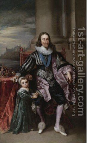 Portrait Of King Charles I, With Charles, Prince Of Wales by (after) Dyck, Sir Anthony van - Reproduction Oil Painting