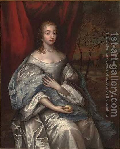 Portrait of a lady, three-quarter-length, seated in a white dress and blue wrap by (after) Dyck, Sir Anthony van - Reproduction Oil Painting