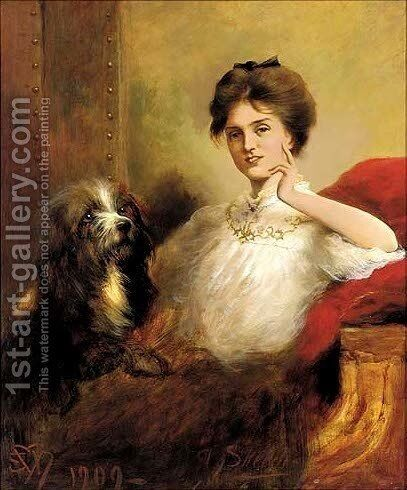 Portrait of a lady, seated three-quarter-length, in a white blouse with lace trim, a terrier to her side by Edwin Douglas - Reproduction Oil Painting