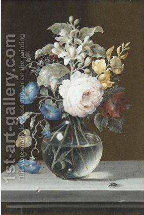 Still Life With Rose, Orange Blossom, Anenome, In Glass Vase With Insects by Barbara Regina Dietzsch - Reproduction Oil Painting