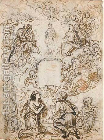 Design for a frontispiece The Immaculate Conception, flanked by the Assembly of Saints above an empty cartouche, Adam and Eve kneeling below by Abraham Jansz. van Diepenbeeck - Reproduction Oil Painting