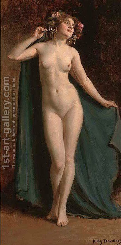 Standing female nude 2 by Allan Douglas Davidson - Reproduction Oil Painting