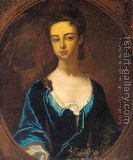 Portrait of a lady, half-length, in a blue dress, feigned oval by (after) Dahl, Michael - Reproduction Oil Painting