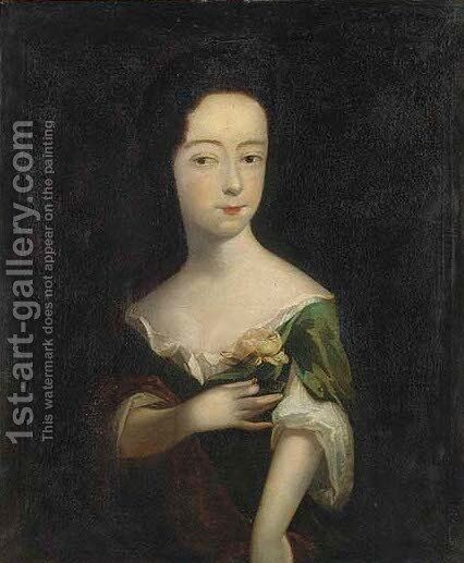 Portrait of Letita Pinchen, half-length, in a green dress, holding a rose by (after) Dahl, Michael - Reproduction Oil Painting