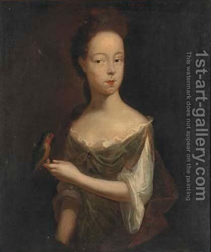 Portrait of Hannah Pinchen, half-length, in a green dress, holding a song bird by (after) Dahl, Michael - Reproduction Oil Painting