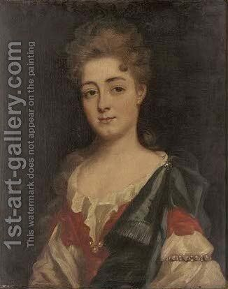 Portrait of a lady, half-length, in a red and white dress, and a blue mantle by (after) Dahl, Michael - Reproduction Oil Painting