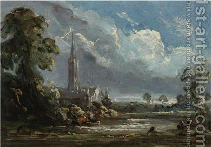 View Of Salisbury Cathedral by (after) Constable, John - Reproduction Oil Painting