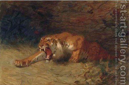 Tigre rugissant 2 by Gustave Surand - Reproduction Oil Painting