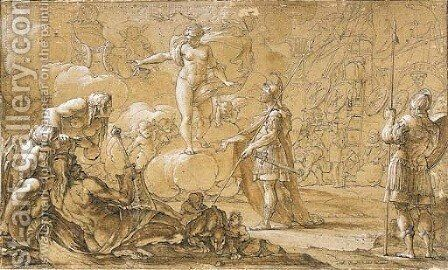 Venus appearing to Aeneas as he lands on the site of Rome, with allegories of the Tiber and Rome in the foreground by Antoine Rivalz - Reproduction Oil Painting
