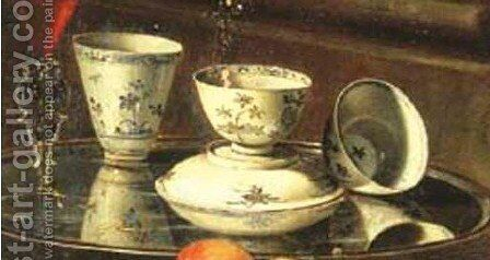Porcelain cups and a facon de venise glass on a salver, with a ewer of wine, a peeled lemon, peaches and other fruit, all before a plinth with a cello (detail) by Cristoforo Munari - Reproduction Oil Painting