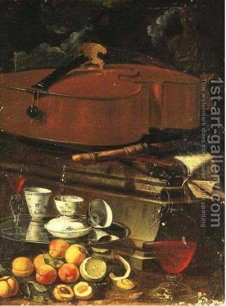 Porcelain cups and a facon de venise glass on a salver, with a ewer of wine, a peeled lemon, peaches and other fruit, all before a plinth with a cello by Cristoforo Munari - Reproduction Oil Painting