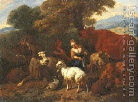 An Italianate landscape with a shepherd and shepherdess sheltering under a tree with animals by Dirk van Bergen - Reproduction Oil Painting
