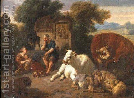An Italianate landscape with a peasant family resting by Dirk van Bergen - Reproduction Oil Painting