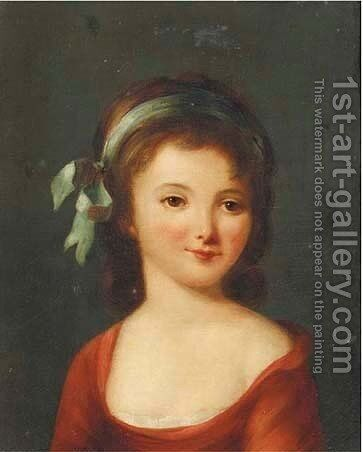 Portrait of a young girl, half-length, in a red dress with a light blue ribbon in her hair by Johann Friedrich August Tischbein - Reproduction Oil Painting
