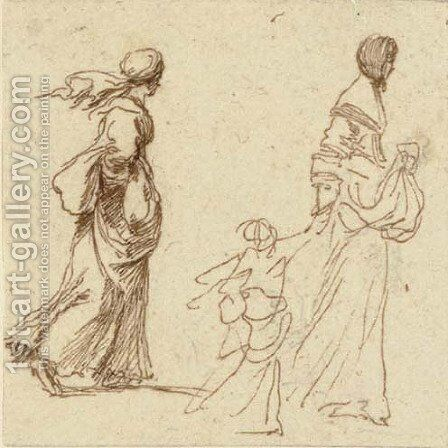 Two women walking to the right, one holding a child by the hand by Stefano della Bella - Reproduction Oil Painting