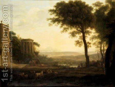 Landscape With The Father Of Psyche Sacrificing At The Milesian Temple Of Apollo by (after) Claude Lorrain (Claude Gellee) - Reproduction Oil Painting