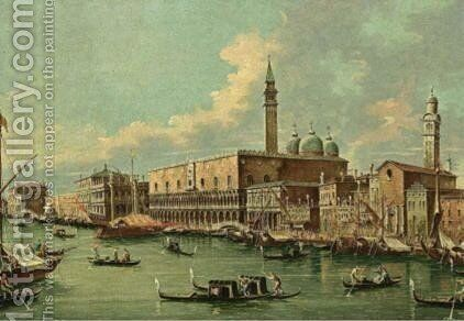 Venice A View Of The Ducal Palace And The Molo From The Bacino by (after) (Giovanni Antonio Canal) Canaletto - Reproduction Oil Painting