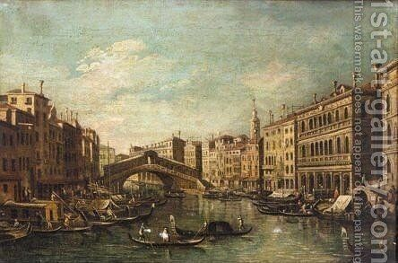 Venice, A View Of The Rialto Bridge 3 by (after) (Giovanni Antonio Canal) Canaletto - Reproduction Oil Painting