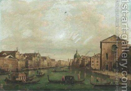 Venice, A View Of The Grand Canal Looking North-East From Santa Croce To Santa Geremia by (after) (Giovanni Antonio Canal) Canaletto - Reproduction Oil Painting