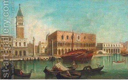 The Molo with the Palazzo Ducale, and the Piazetta by (after) (Giovanni Antonio Canal) Canaletto - Reproduction Oil Painting