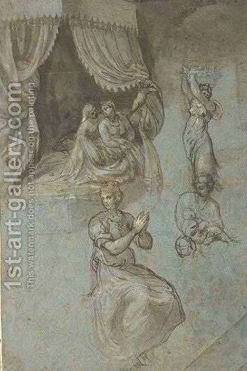 The Birth of the Virgin, with subsidiary studies of serving women and a midwife by (after) (Giovanni Antonio De' Sacchis) Pordenone - Reproduction Oil Painting
