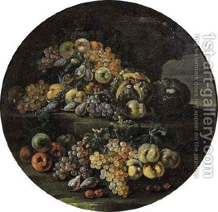 Grapes, lemons, oranges, pears, cherries, peaches and melons on stone ledges in landscapes by (after) Abraham Brueghel - Reproduction Oil Painting