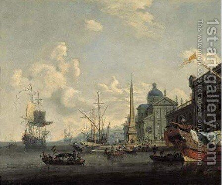 Capricci of Mediterranean harbours with shipping and merchants on quays by obelisks by (after) Abraham Jansz. Storck - Reproduction Oil Painting